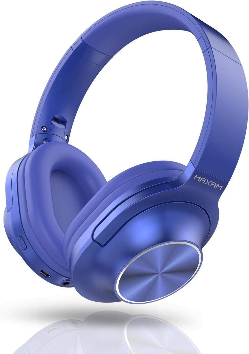 Maxam Auriculares de Diadema Bluetooth 5,0 Cascos Inalámbricos, Plegables, Cancelación de Ruido, Micrófono Incorporado. Azul
