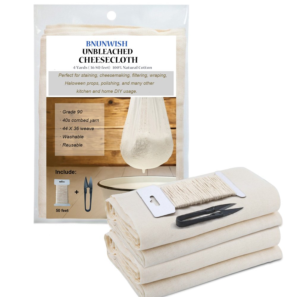 Cheesecloth Grades 90 for Cooking, Straining, 36Sq Feet (4yards) 100% Unbleached Reusable Ultra Fine Cotton Fabric with 50 Feet Cooking Twine and a Sharp Scissor