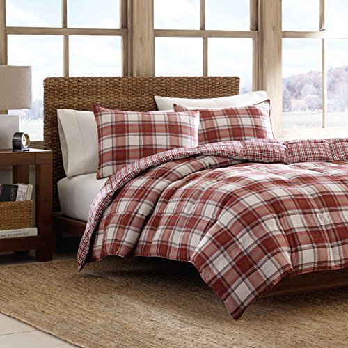 Eddie Bauer Edgewood Plaid Down Alternative Reversible Comforter Set, Full/Queen, Red (Set Percale Comforter)