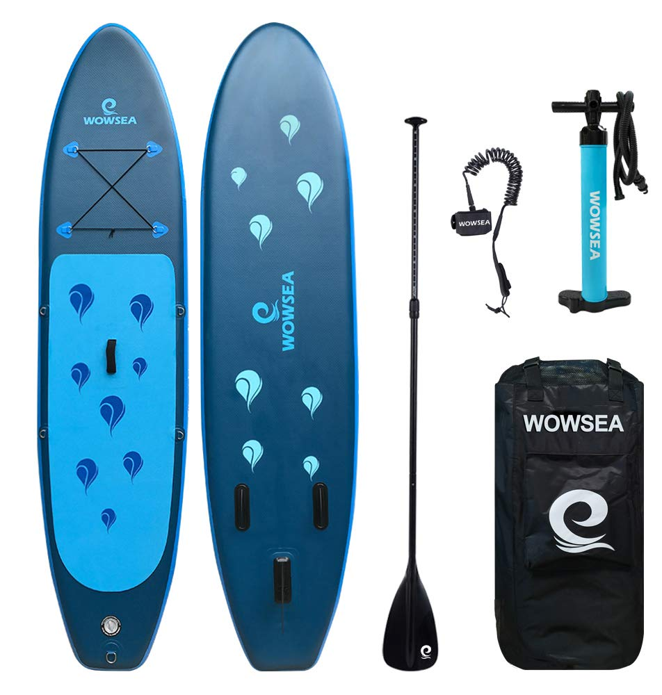 WOWSEA iSUP Inflatable 10.6' Stand Up Paddle Board Includes Adjustable Paddle Travel Backpack Coil Leash for Youth and Adult (10.6 Feet Water Droplet Blue) by WOWSEA
