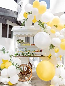 Beaumode DIY Yellow And White Balloon Garland Arch kit for 1st birthday Sunshine Lemon honeybee Popcorn Baby Shower Bridal Shower Party Backdrop Decoration