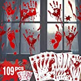 Bloody Handprint Footprint Halloween Decorations - 109 PCS Halloween Window Clings, 8 Sheets Bloody Wall Decal Floor Clings with Tattoo Stickers, Spooky Window Stickers for Halloween Party Decorations