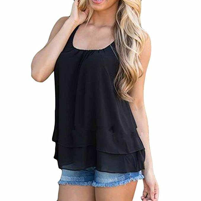 Camisetas y tops Mujer Tanktops Chaleco, Koly 2018 Nuevo Blusas para Mujer Vaquera Sexy Gasa Vendaje de ocio Tops Camisetas Mujer Blusas y camisas Sin ...