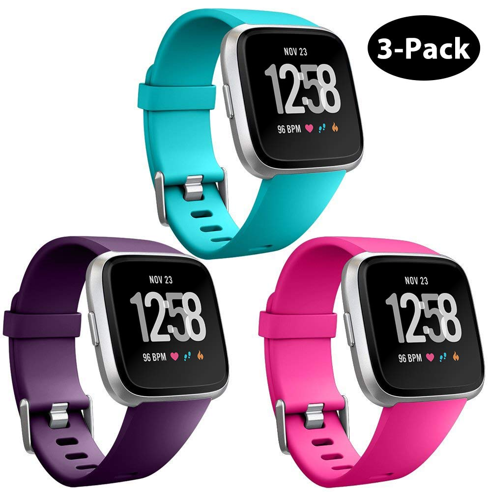GEAK Replacement for Fitbit Versa Bands & Fitbit Versa Lite Bands 3  Pack,Soft Adjustable Waterproof Wristband Compatible Fitbit Versa Lite SE  for