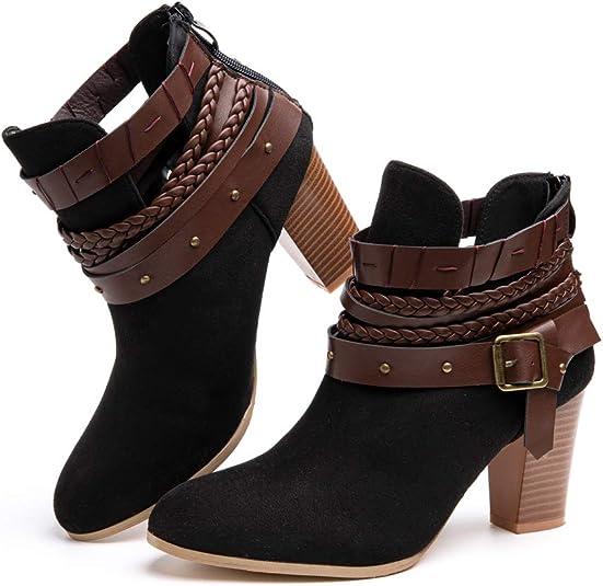 TALLA 35 EU. Botas Mujer Tobillo Tacon Botines Bloque Slip on Chelsea Boots Atajo Fiesta Chunky Medio Verano Verano Zapatos Negro Marrón Verde Rosa EU35-EU43