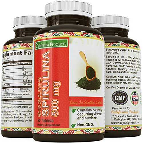 Pure Organic Spirulina 500 mg Tablet - Antioxidant Detox Cleanse for Weight Loss - Immune System Booster for