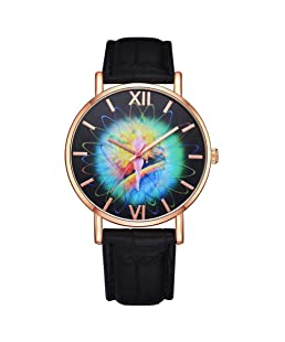 Austinstore Fashion Colorful Pattern Faux Leather Band Women Round Quartz Wrist Watch Gift - Black