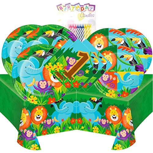 Jungle Safari 1st Birthday Themed Party Pack - Includes 24 9