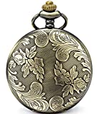 SEWOR Bronze Flowers Vintage Quartz Pocket Watch Shell Dial with Two Type Chain(Leather+Metal) (Bronze case)