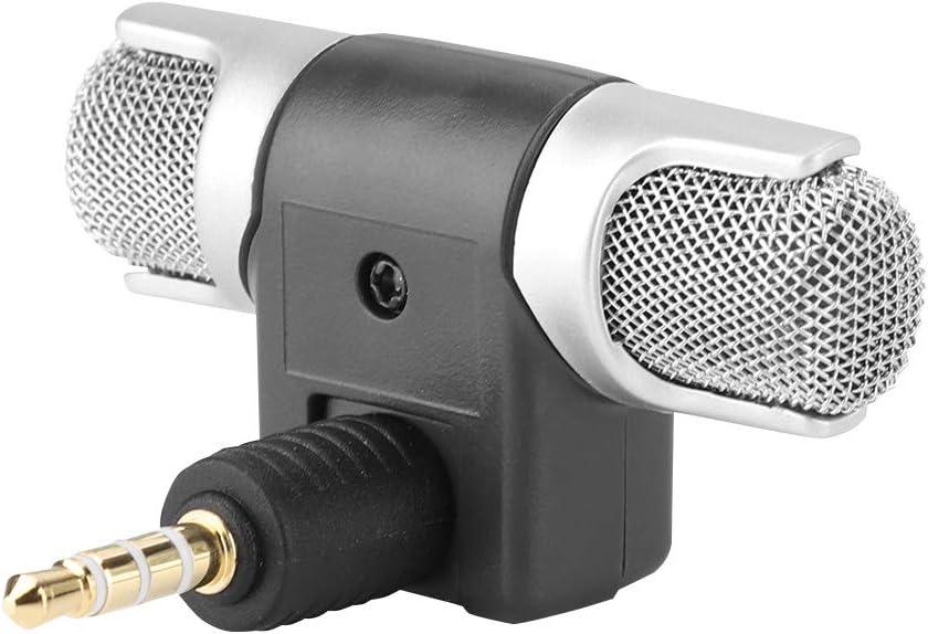 Kafuty Drahtlose Mikrofonaufnahme 3,5-mm-Minimikrofon Digitales Stereomikrofon Plug-and-Play-Mikrofon Professionelles externes Handmikrofon f/ür Digitale Medien Mobiltelefone PC und Rekorder