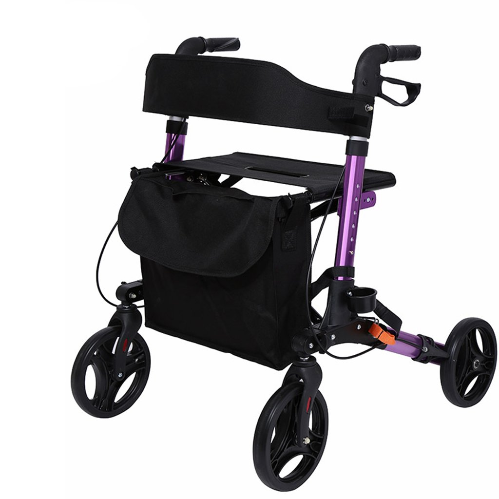 XUEPING ウォーカー老人用トロリーウォーキング援助リハビリ付きホイール付き高齢者ショッピングトロリー4色7.5 Kgライド136 Kg ( 色 : B Purple ) B078NWQRZL B Purple B Purple