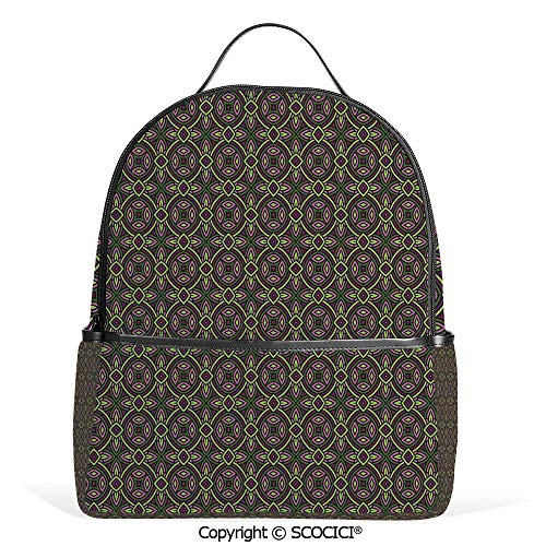 Hot Sale Backpack outdoor travel Floral Ethnic Celtic Patterns Heraldic Tribal Symbolic Historical Bound Shapes Image,Purple Green,With Water Bottle Pockets