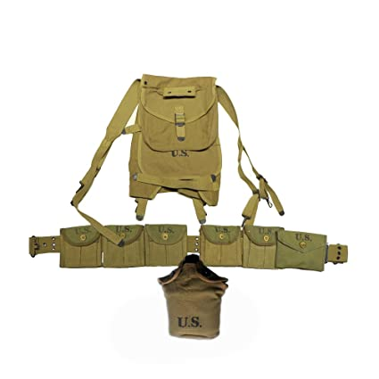 WW2 US GI Force Soldier Full Set Equipment Man Equipment 1928 Haversack M1