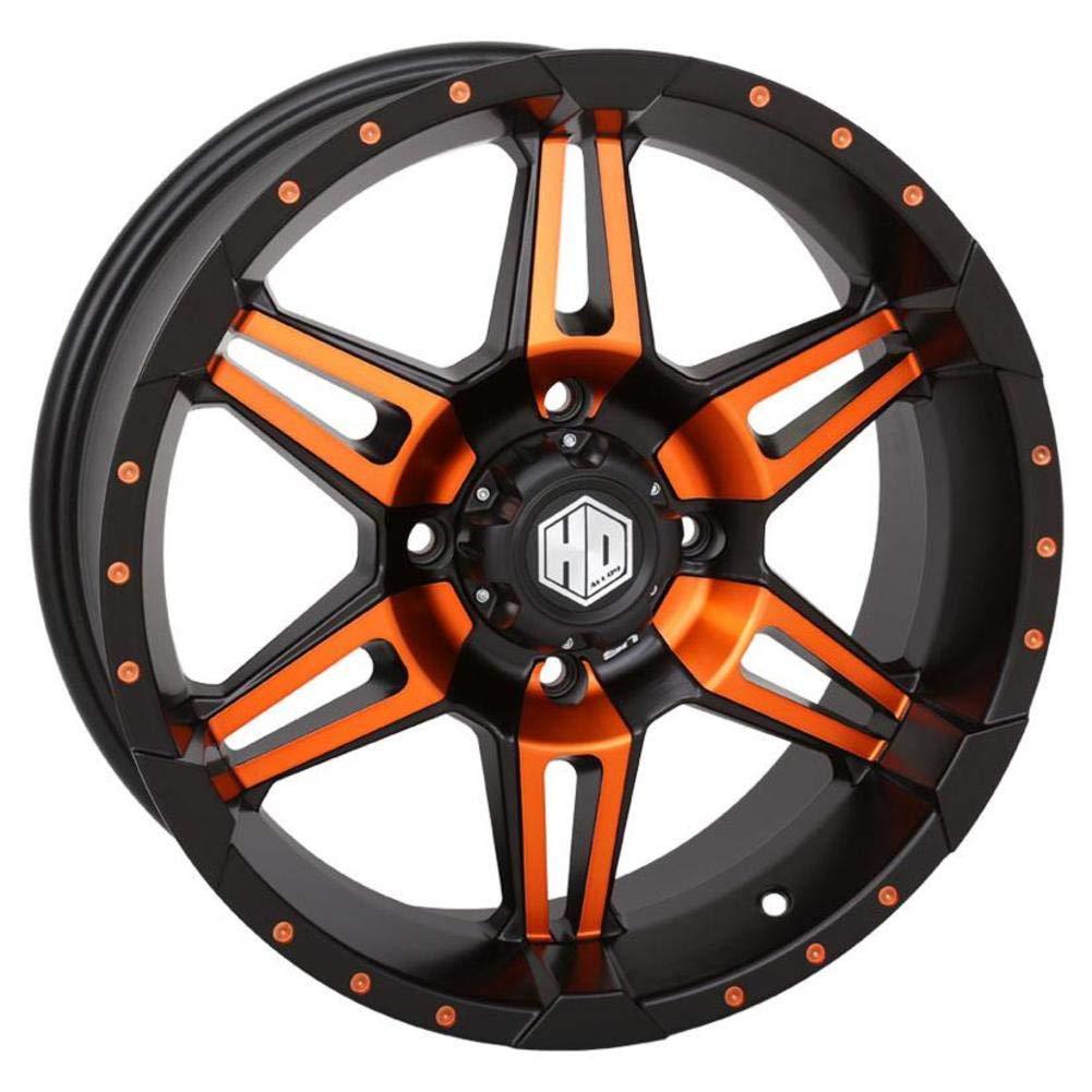 Front//Rear // 14x7 4//156 4+3 Matte Black//Orange STI 14-19 Polaris RANRZR1000XE HD7 Wheel