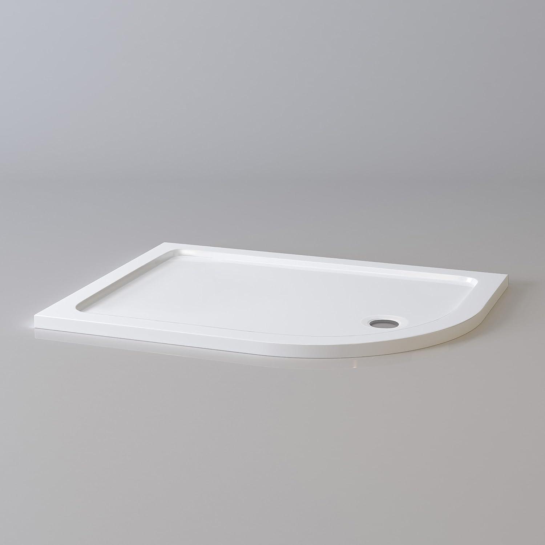 Offset Quadrant 1200 x 900 mm Stone Shower Enclosure Tray + Waste - Right iBathUK