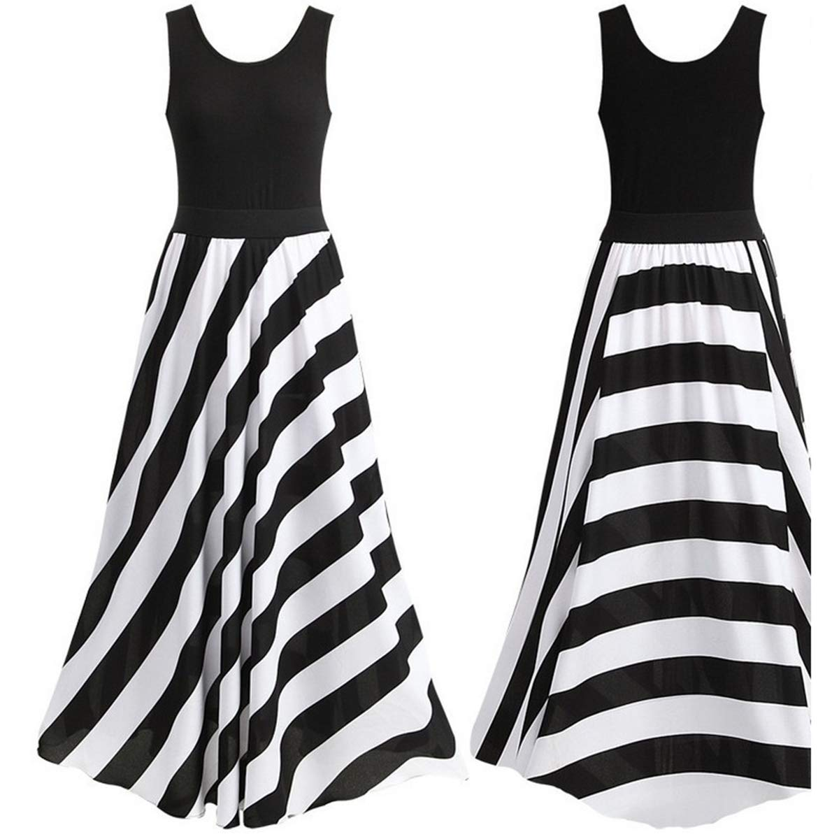 Women Long Maxi Dress Evening Cocktail Career Floral Lace Chiffon Stripe Dress (Black, L)