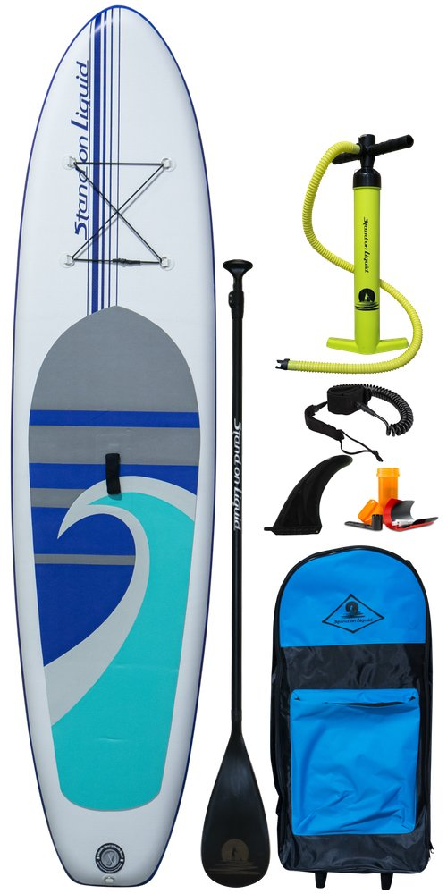 Stand On Liquid Newport Air Inflatable 11 Foot All Around Stand Up Paddle Board iSUP Package | Includes Adjustable Paddle, Dual Action Pump, Backpack Carrying Bag, Leash