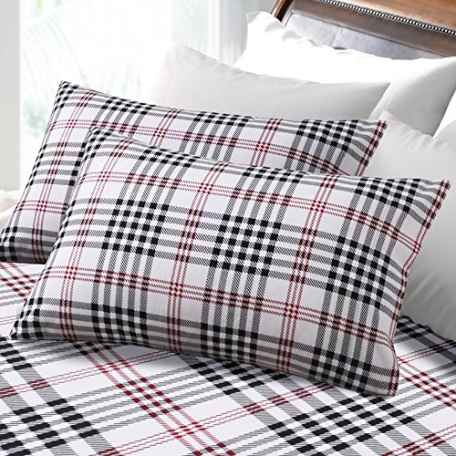 Tribeca Living 6-ounce Hemstitched Plaid Deep Pocket Flannel Sheet Set Red 4 Piece (6 Ounce Flannel)