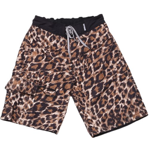 SAFS Men's Board Shorts Animal Print Surf Pants Leopard Brown 32