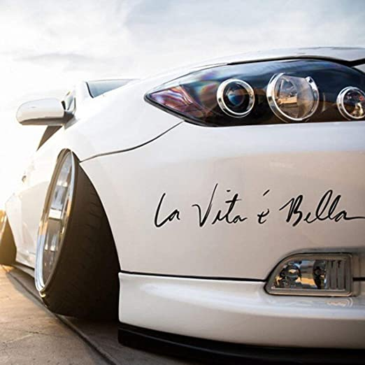 TAOHOU La Vita e Bella English Letter Side Door Car Stickers ...