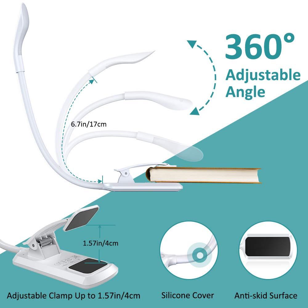 E-Reader Ricaricabile USB,Tocca Cambia Cocoda Luce Lettura ecc. 7 LED a 3 Livelli di Luminosit/à 360/°Flessibile Lampada da Lettura con Clip Mini Luce Notturna per la Lettura a Letto