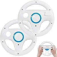 Volante de Wii para Wii Mario Kart Racing Wheel para Nintendo Wii U Remote Controller [paquete de 2] (blanco y blanco)