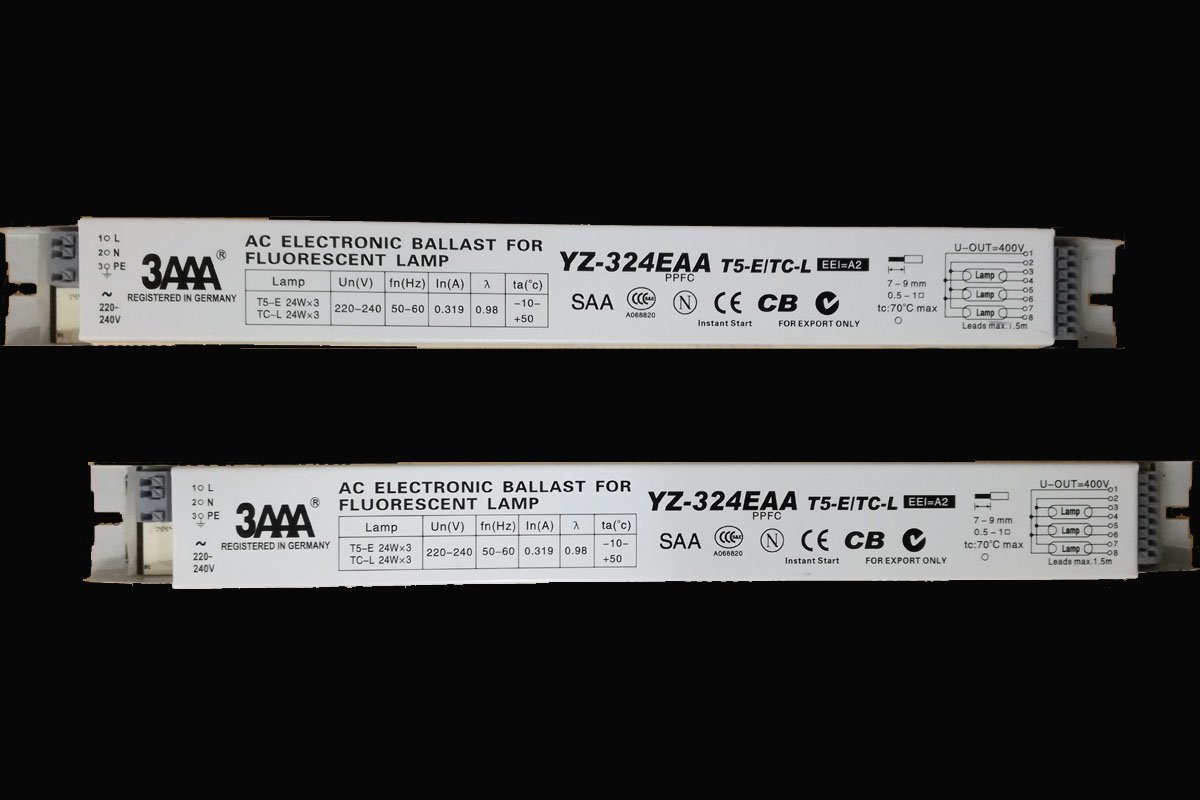 3aaa 220 240v Ac Electronic Ballast Standard Rectifiers For T5 Ballasts Fluorescent L S In Addition 4 Wiring On Lamp E Tc 3x24w Aquarium And Advertising Box Yz 324eaa White Color