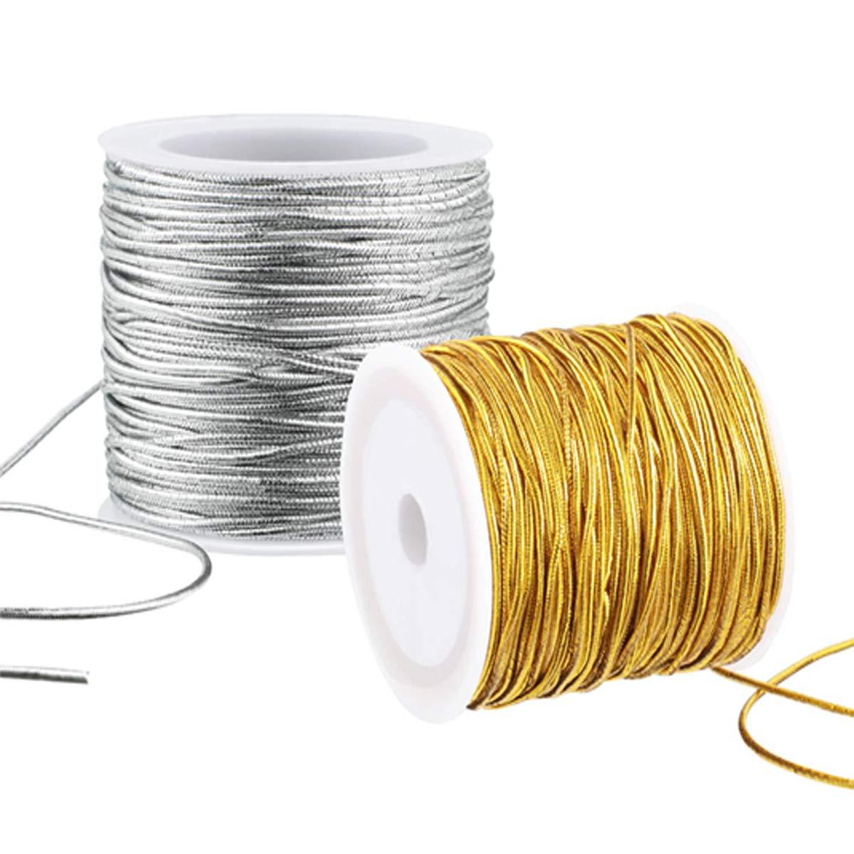 Mengger 6 Pcs Bobina de cordel dorado met/álico Cuerda met/álica Hilo de costura para joyer/ía y manualidades envoltorio de regalo Cuerdas cordeles