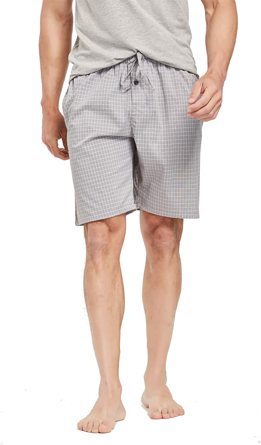 Mens 100/% Cotton Plaid Lounge Sleep Shorts Available in Plus Size