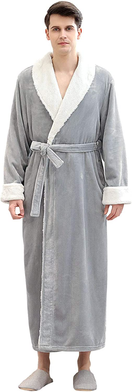 Mens Robe Warm Soft Plush Kimono Long Winter Sleepwear Housecoat Bathrobe