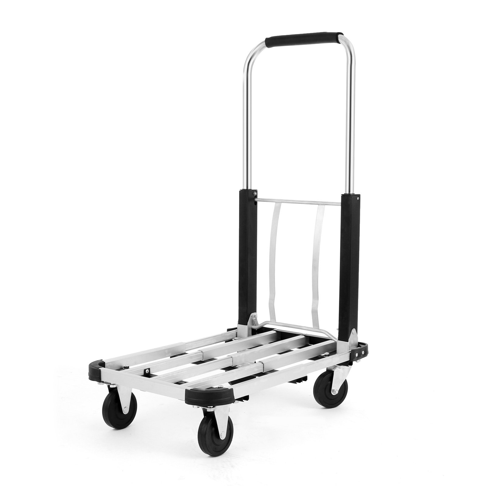 TOTOOL 330Lbs Folding Platform Truck Heavy Duty Platform Truck Cart Telescopic Rod Hand Truck Dolly Stainless Steel (330 LB)