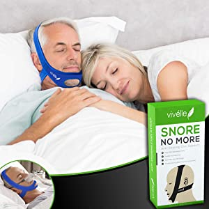 CPAP Bi-Pap VPAP BPAP TMJ Chin Strap Anti Snoring Chin Strap for Men and for Women - Snore No More by Vivélle, Slim-Non-Slip, Adjustable, Premium Snore Stopper Device That Helps You Day and Night