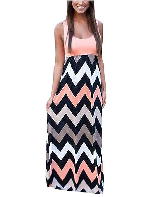 4912d34204b750 Très Chic Mailanda Sommerkleid Damen Partykleid Lang Chiffon High Waist  Striped Sleeveless Beach Kleid Elegant,