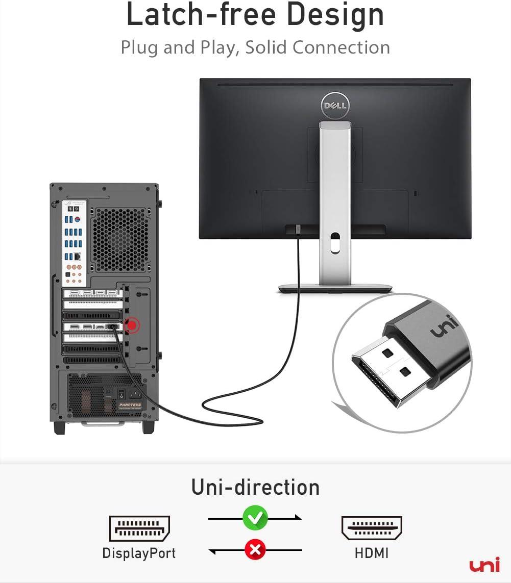 AMD 4K UHD 2m HP NVIDIA y m/ás de uni DP a HDMI GPU compatible con Lenovo Cable DisplayPort a HDMI DELL puerto de visualizaci/ón unidireccional a conector HDMI