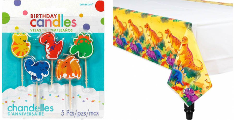 Includes 1 Maze Game Activity Card by ClassicVariety Amscan Paper Tablecover 54 X 102 Birthday Party Decoration Bundle Dinosaur Candles and 1 ct 5 ct