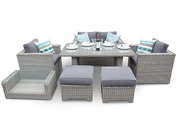 Bahia Rattan Sofa Esstisch Garten Terrasse Set Weißwaschung