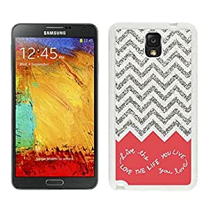 Customized White PC Phone Case for Samsung Note 3 Colorful Chevron Pattern Wave Durable Silicone Cover