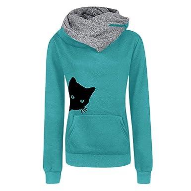 Fannyfuny Mujer Sudadera con Capucha Moda Impresión de Animal Gato ...