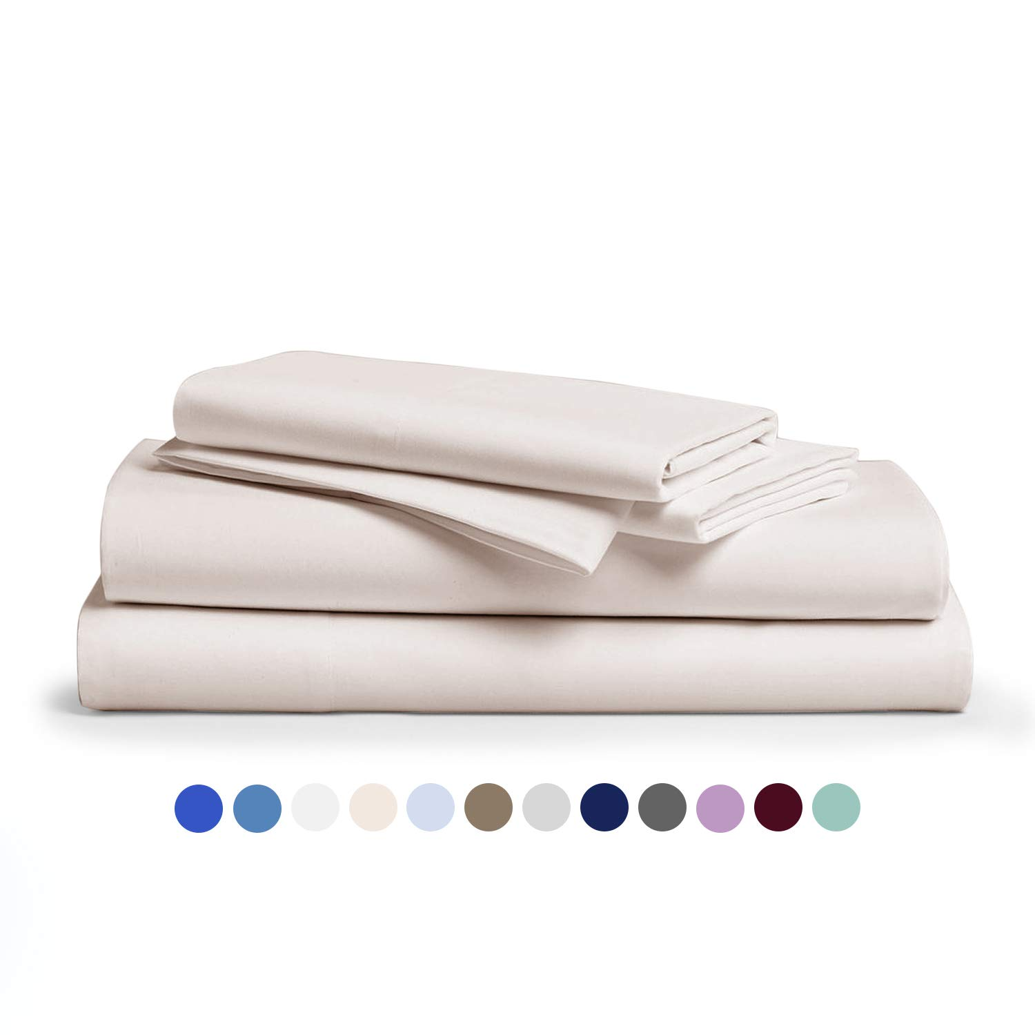 Comfy Sheets 100% Egyptian Cotton Sheets - 1000 Thread Count 4 Pc Queen Cream Bed Sheet with Pillowcases, Premium Hotel Quality Fits Mattress Up to 18'' Deep Pocket.