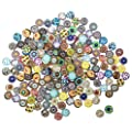 Misscrafts Mosaic Supplies 200pcs Mosaic Printed Glass Half Round Cabochons Mixed Color Mosaic Tiles 12mm for Jewelry Making Crafts