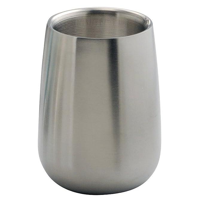 mDesign Juego de 3 accesorios para baño - Conjunto de baño con soporte para cepillo de dientes, dosificador de jabón y vaso para enjuague - Set de baño en ...