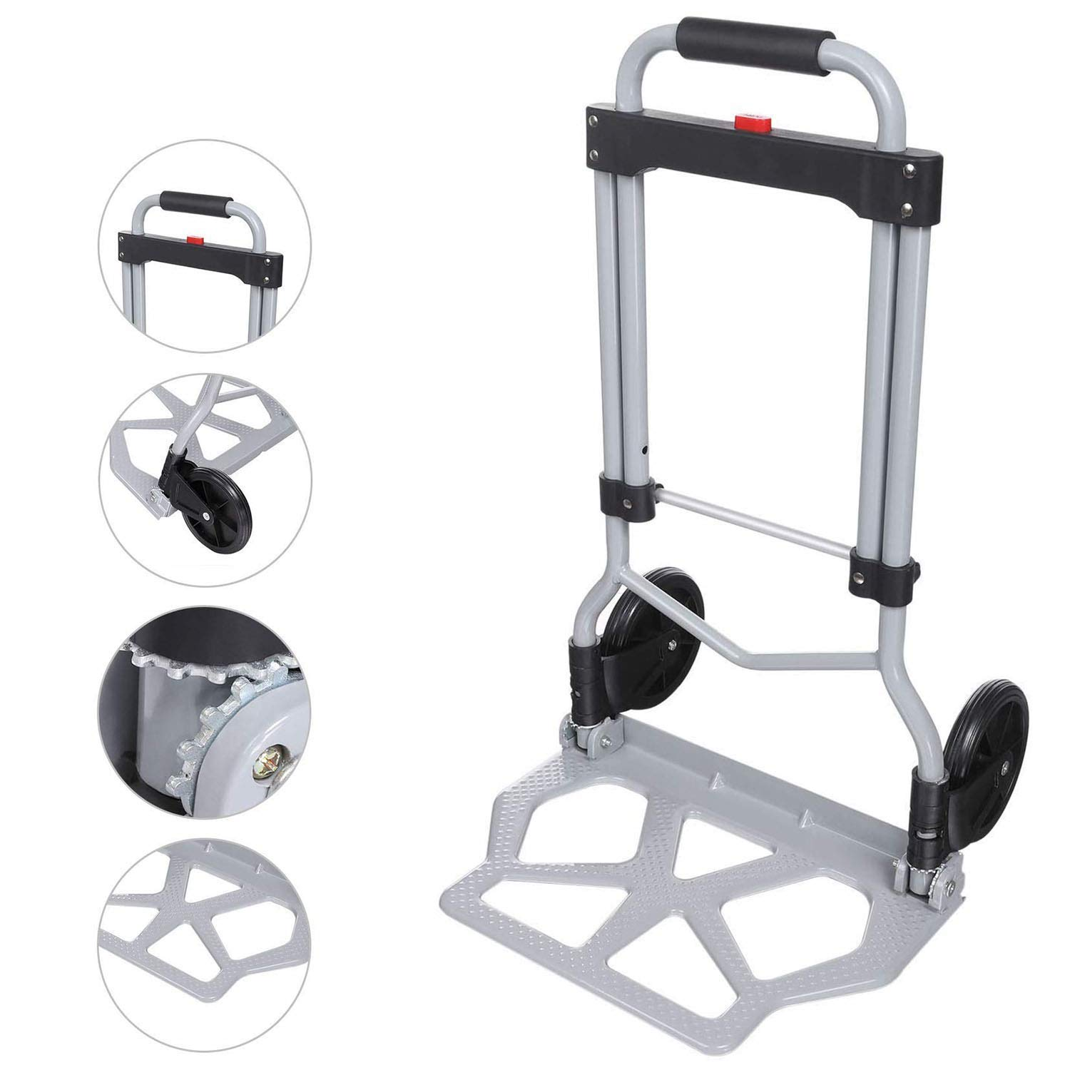Folding Hand Truck and Dolly, 220lbs Portable Heavy-Duty Luggage Trolley Cart with Telescoping Handle and 2 Wheels for Travel, Shopping Or Industrial Black