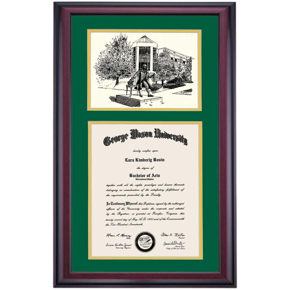 Campus Linens George Mason Patriots Diploma Frame Green Gold Matting Pen & Ink