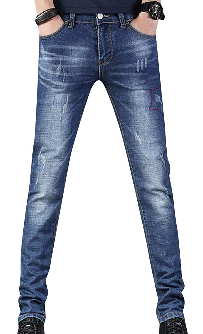 Abetteric Men Fit Straight Stretch Relaxed Fit Washed Mid Waist Denim Pants
