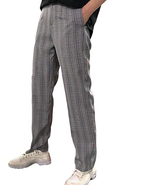 9277ec6f502 KLJR Men Casual High Waist Plaid Straight Leg Plus Size Pants Trouser at  Amazon Men s Clothing store