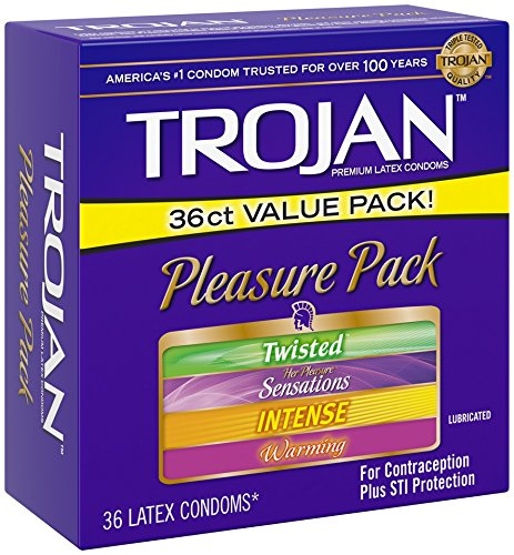 Trojan Condom Pleasure Pack Lubricated, 36 Count