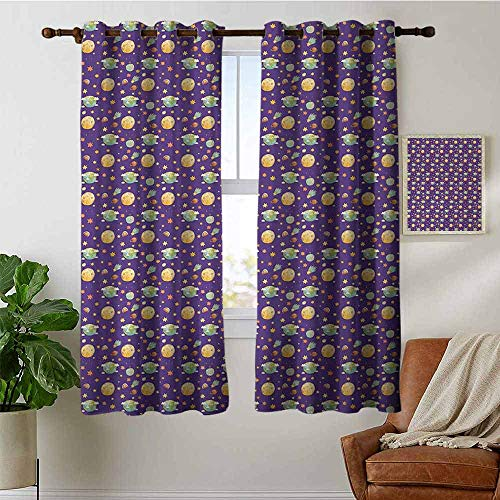 petpany Blackout Curtains Moon,Little Boy on Planet in Watercolors Cartoon Style Solar System Childhood Imagination,Multicolor,Insulating Room Darkening Blackout Drapes for Bedroom 42