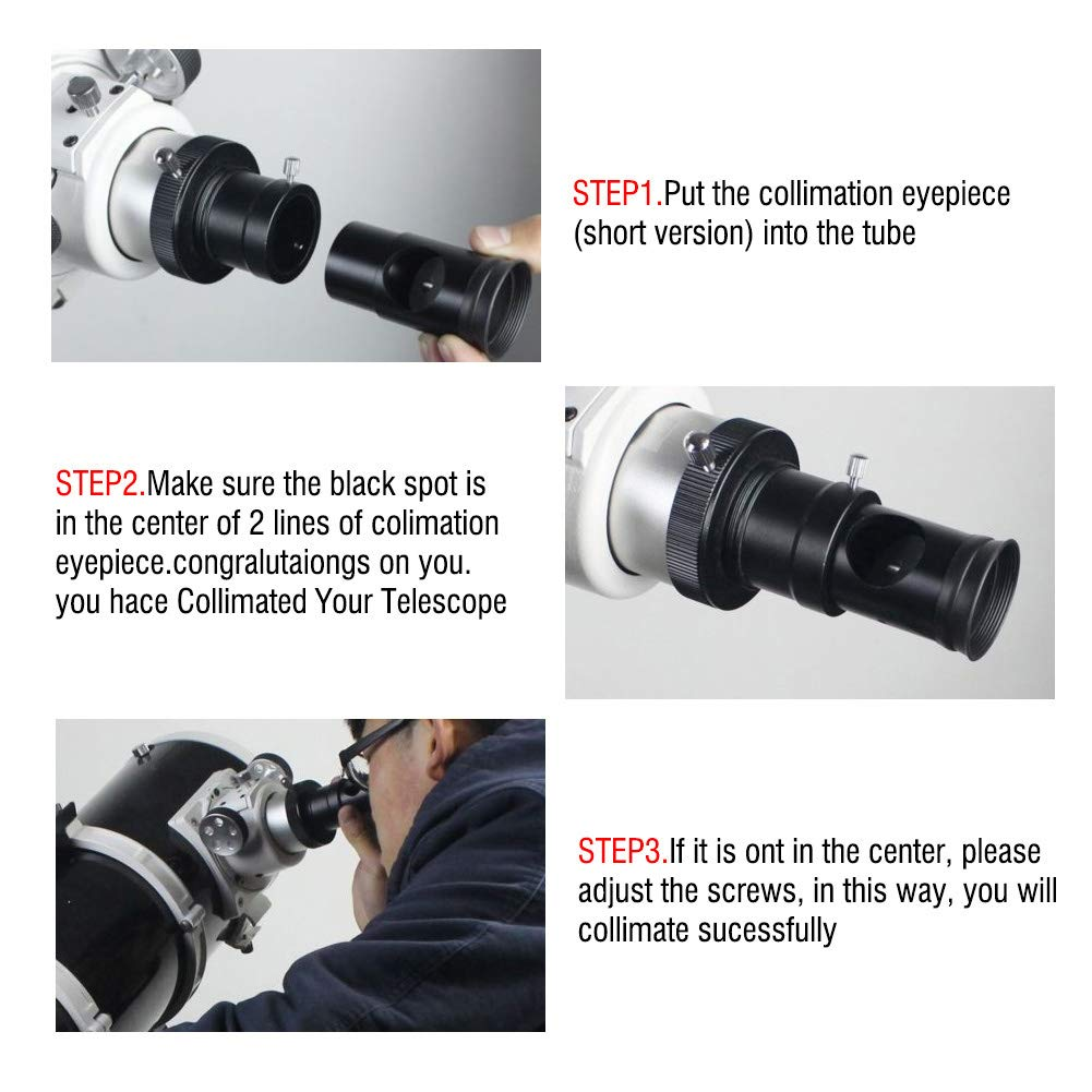 "1.25/"" fitting Chesire collimating eyepiece Short Metal body with crosshair"