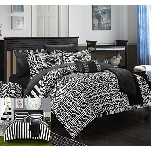 Black White Contemporary Bedding - Chic Home 8 Piece Paris Reversible Geometric and Striped Comforter Sheet Set, Twin X-Long, Black