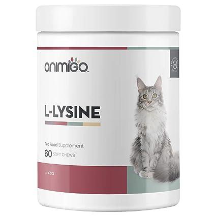 Animigo L-Lisina para Gatos | Suplemento Natural Inmunitario para la Defensa | L-Lisina, Levadura de Cerveza y Pectina Cítrica | Rico en Aminoácidos, ...